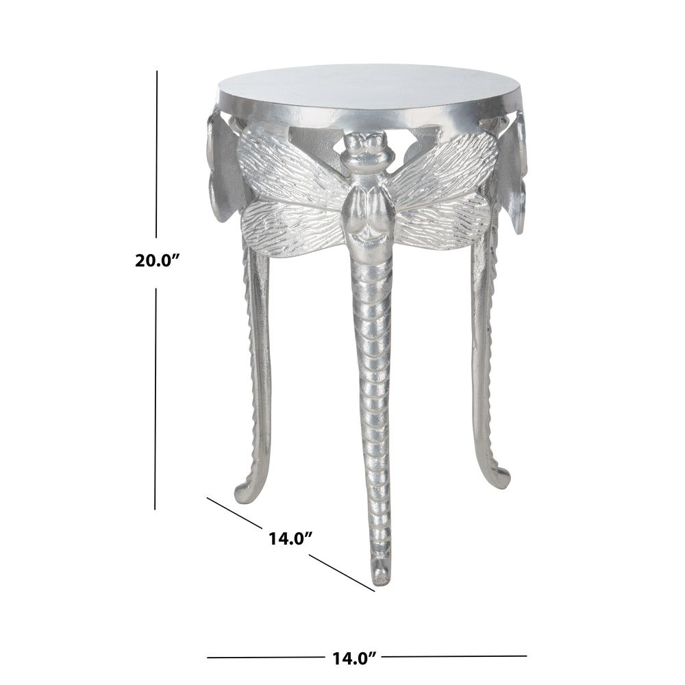 Melika Dragonfly Legs Accent Table, Silver. Picture 3