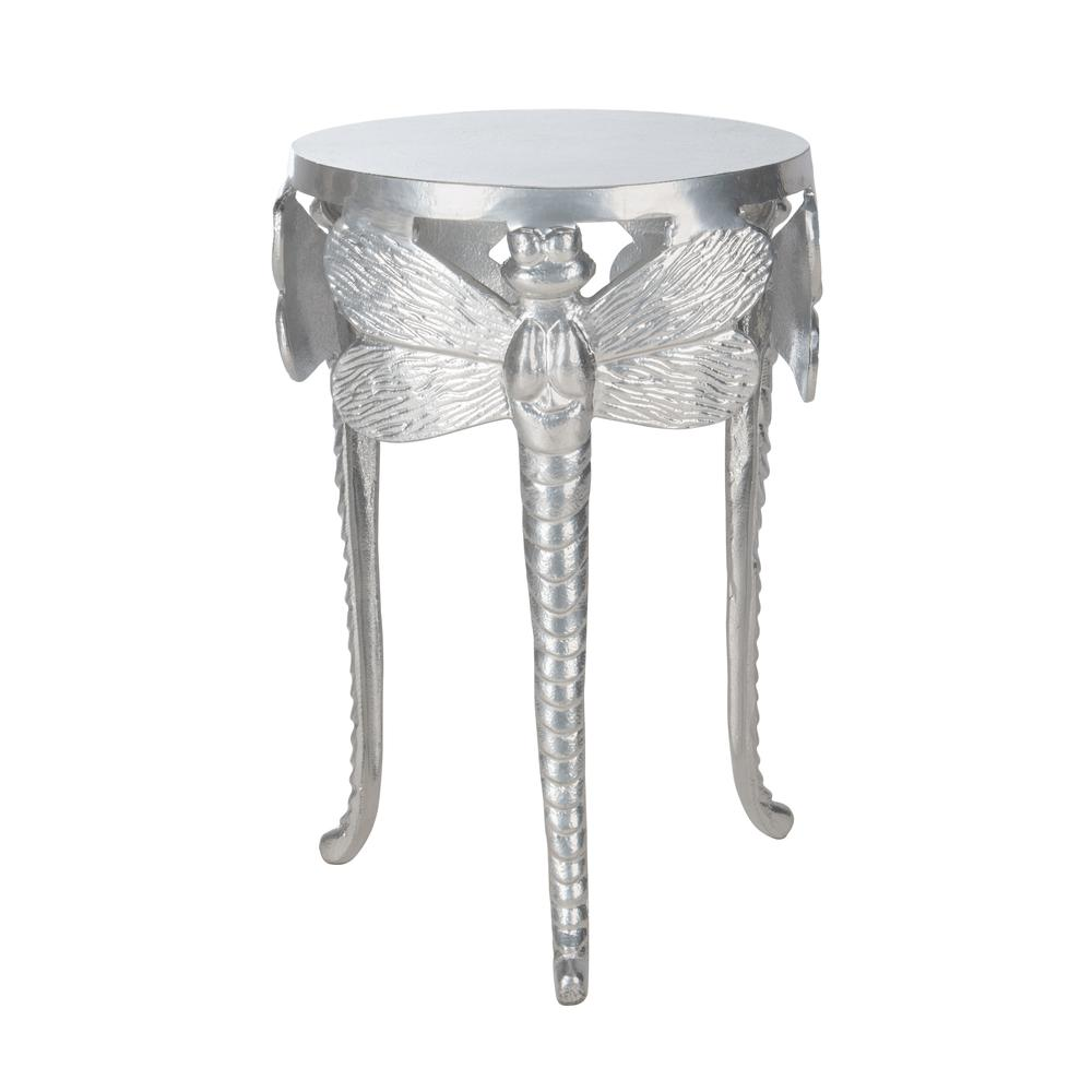 Melika Dragonfly Legs Accent Table, Silver. Picture 1