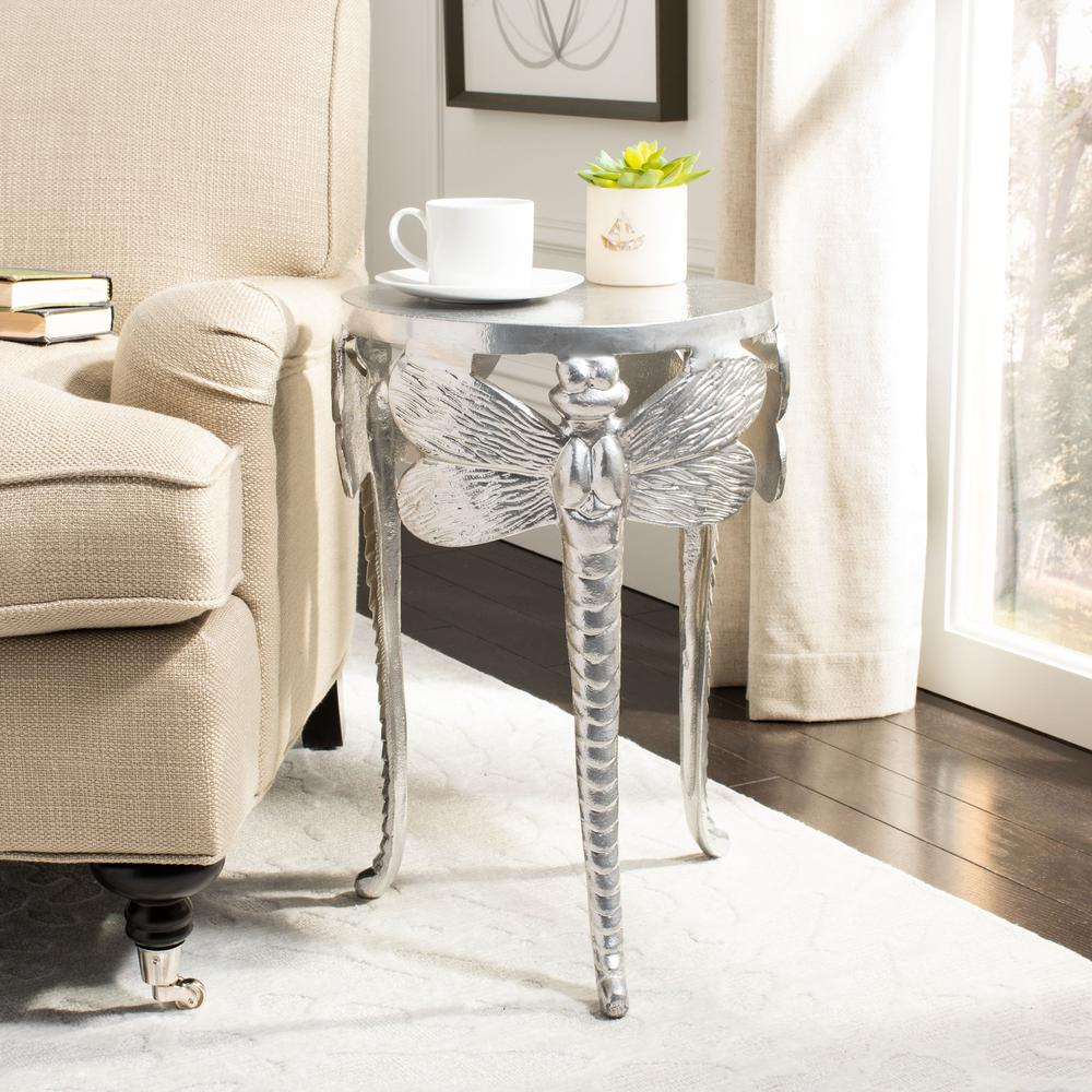 Melika Dragonfly Legs Accent Table, Silver. Picture 5