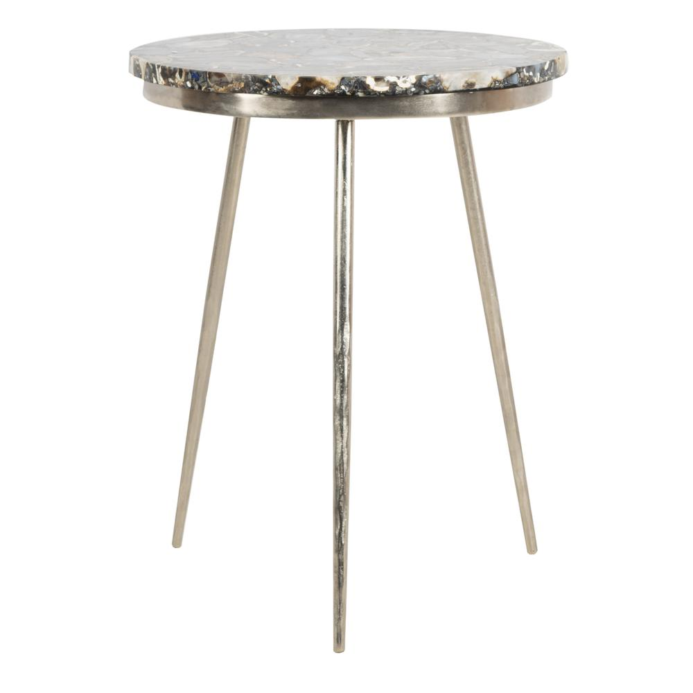 Faryn Agate Round Accent Table, Nickel/Black. Picture 2