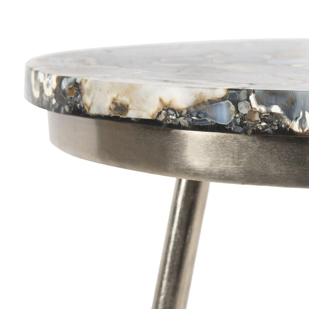 Faryn Agate Round Accent Table, Nickel/Black. Picture 4
