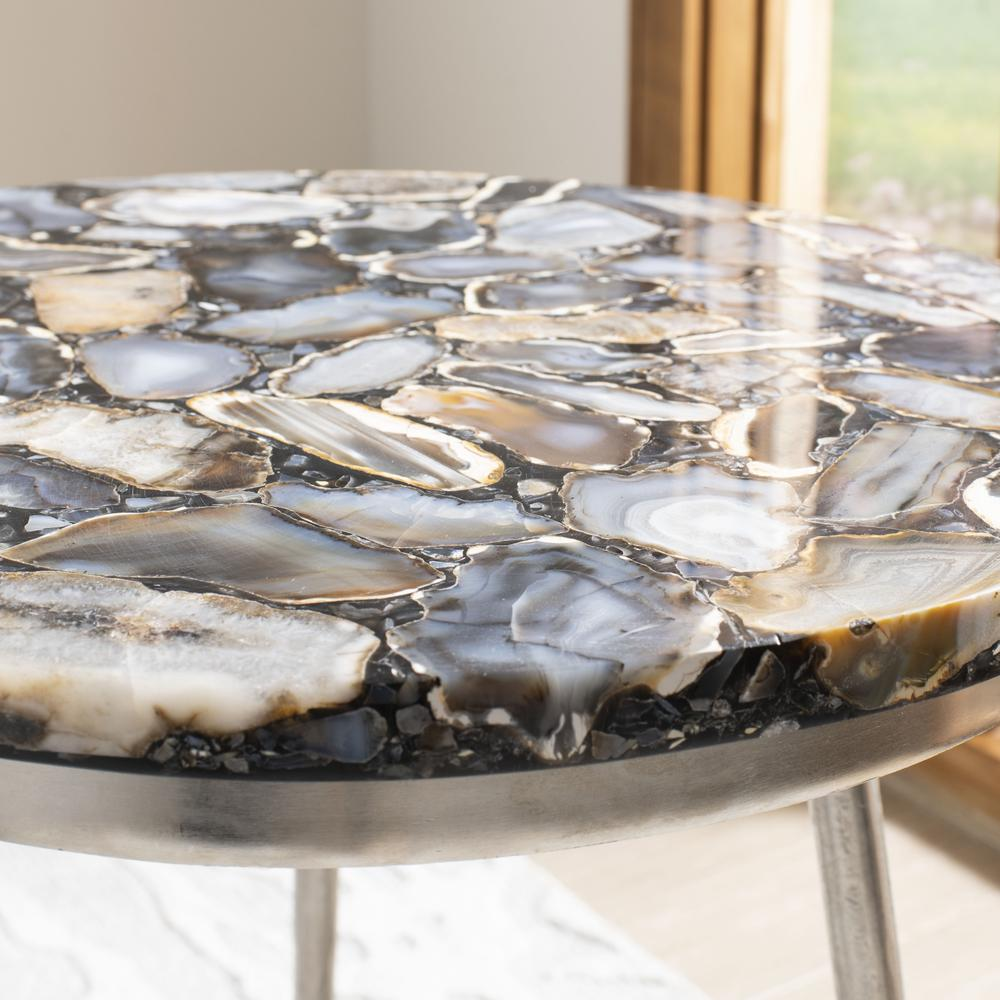 Faryn Agate Round Accent Table, Nickel/Black. Picture 3
