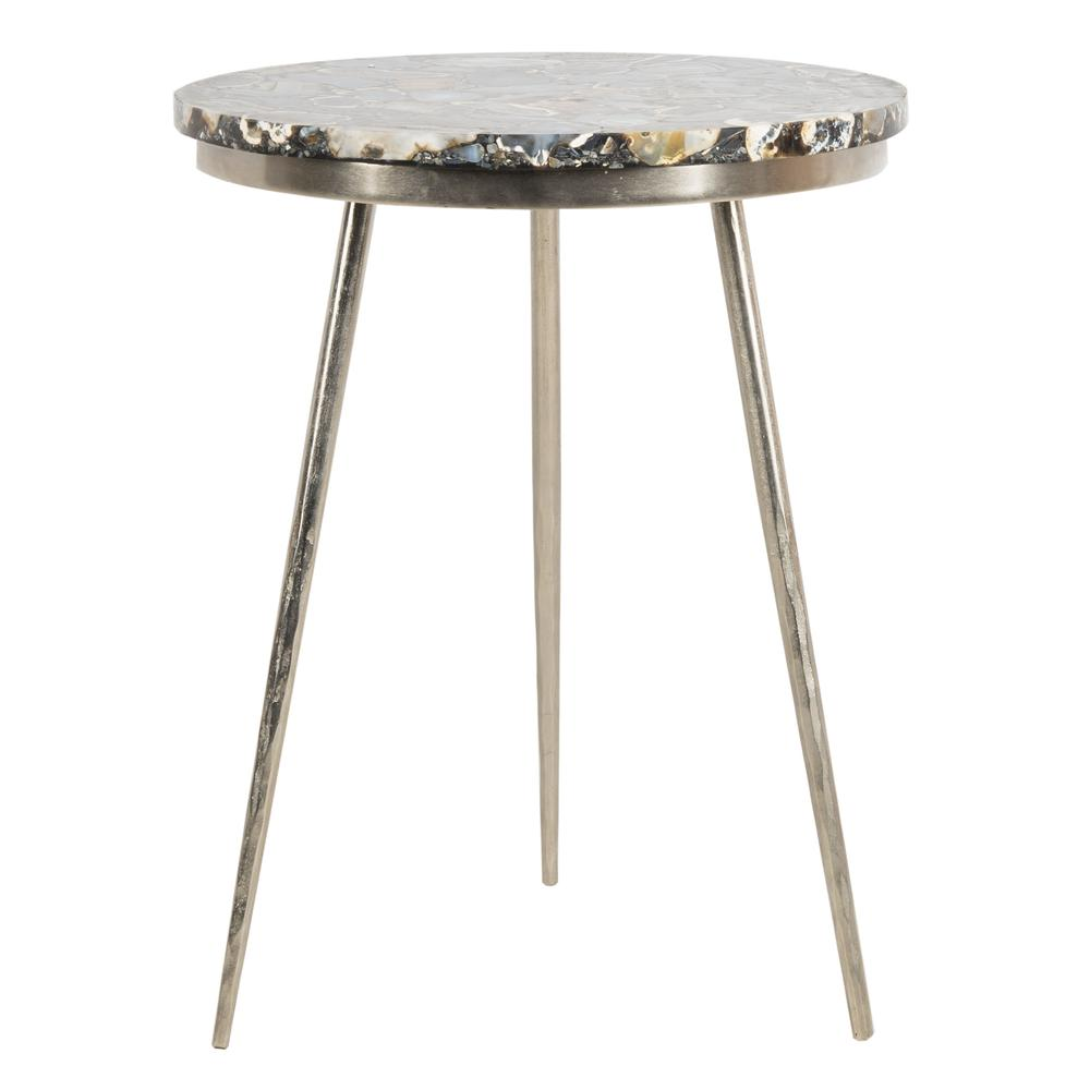Faryn Agate Round Accent Table, Nickel/Black. Picture 1
