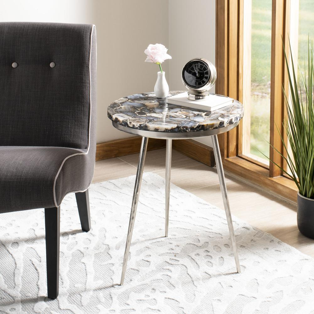 Faryn Agate Round Accent Table, Nickel/Black. Picture 6