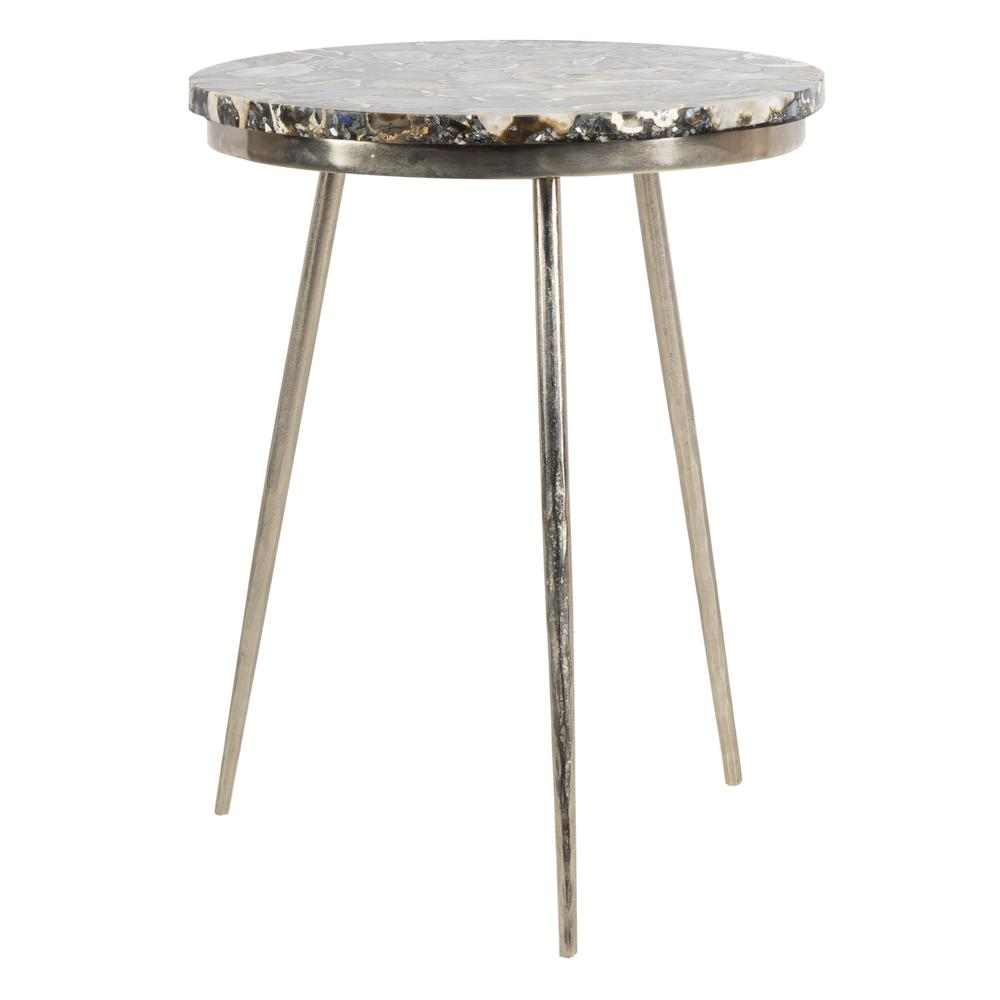 Faryn Agate Round Accent Table, Nickel/Black. Picture 7