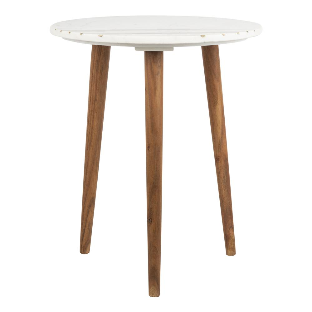 Valerie Round Marble Accent Table, Natural Brown/White/Gold. Picture 2