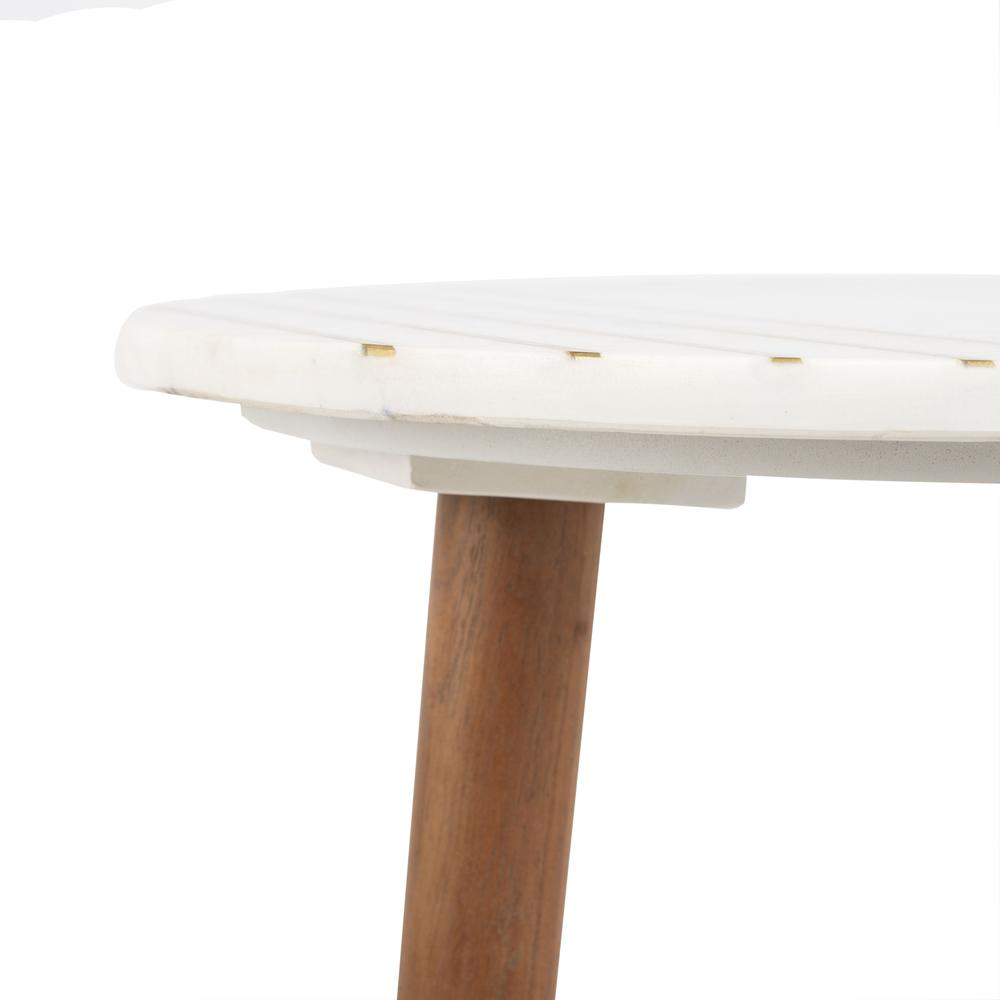 Valerie Round Marble Accent Table, Natural Brown/White/Gold. Picture 4