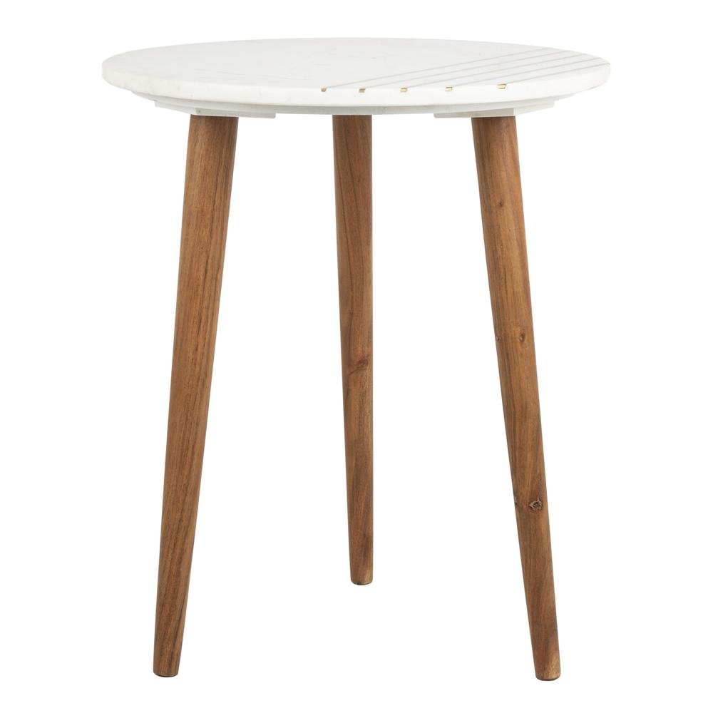 Valerie Round Marble Accent Table, Natural Brown/White/Gold. Picture 1
