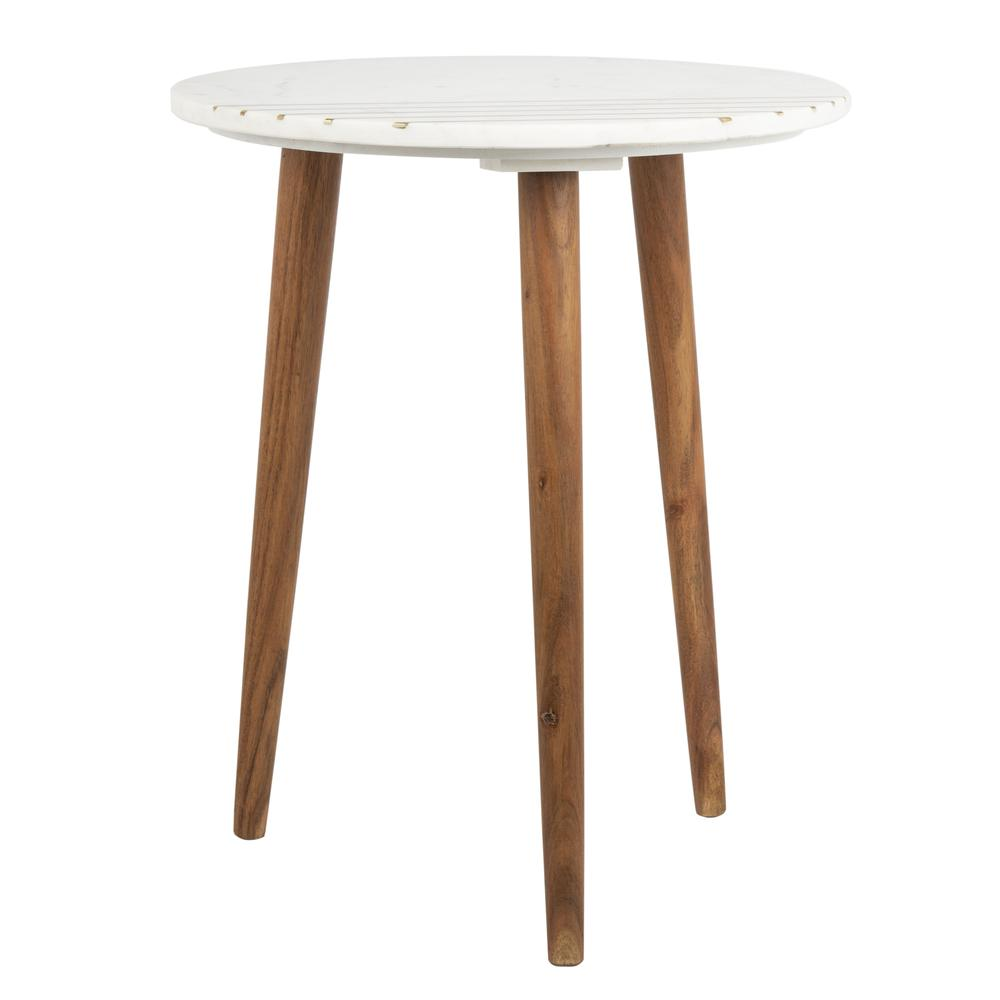 Valerie Round Marble Accent Table, Natural Brown/White/Gold. Picture 8