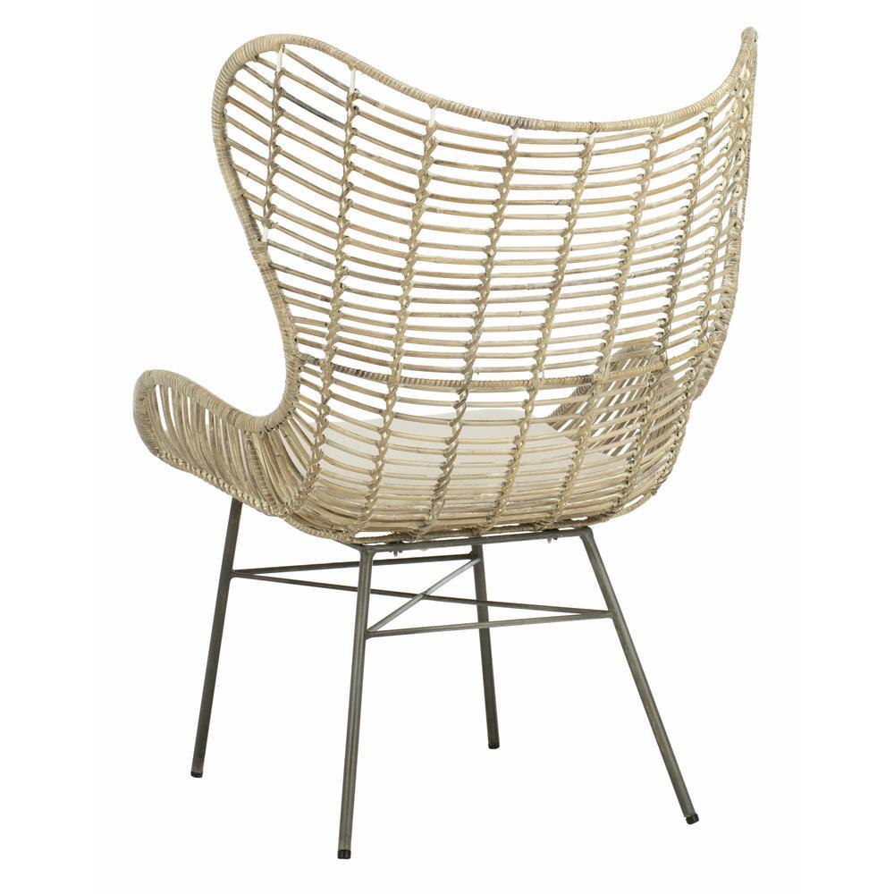 Malia Rattan Wingback Armchair, White Wash. Picture 3
