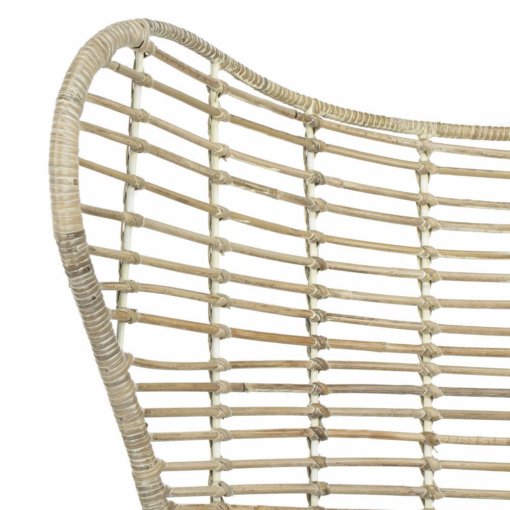 Malia Rattan Wingback Armchair, White Wash. Picture 4