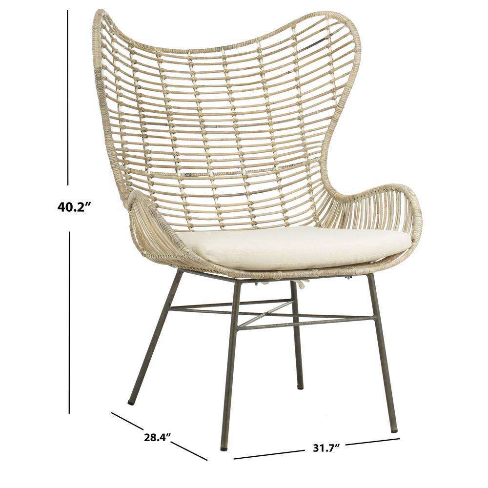 Malia Rattan Wingback Armchair, White Wash. Picture 5