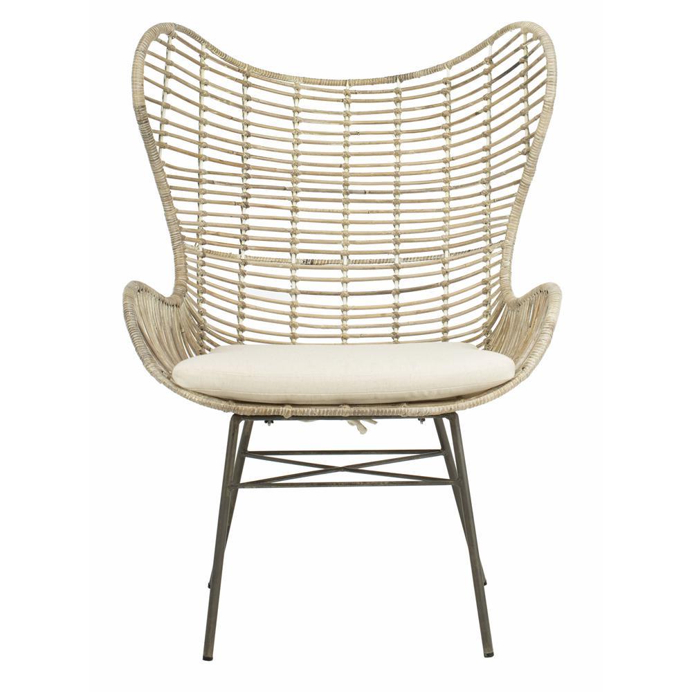 Malia Rattan Wingback Armchair, White Wash. Picture 1