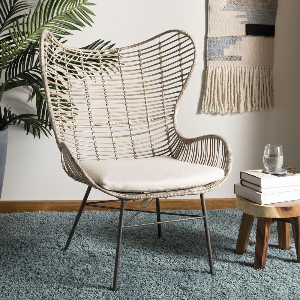 Malia Rattan Wingback Armchair, White Wash. Picture 7