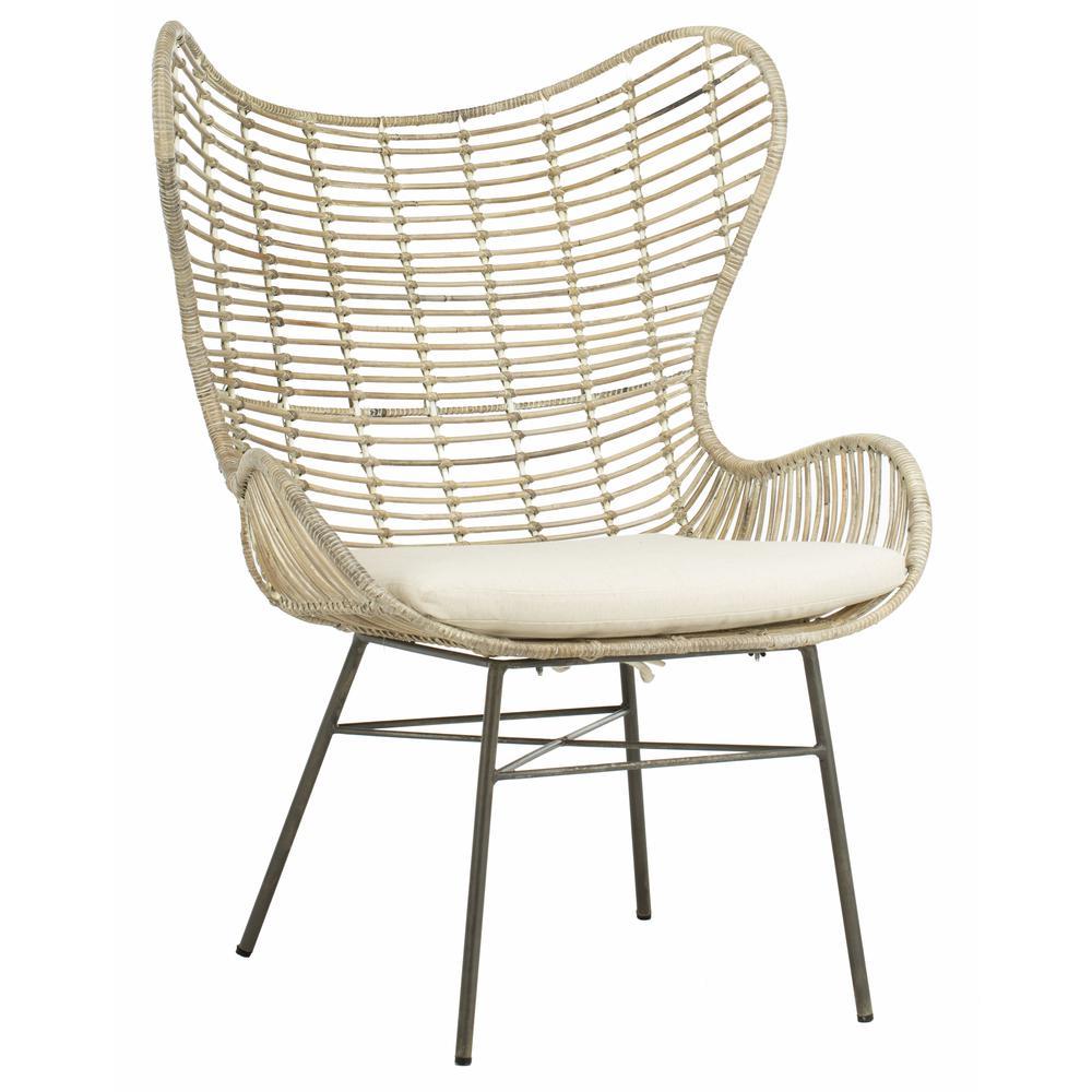 Malia Rattan Wingback Armchair, White Wash. Picture 8