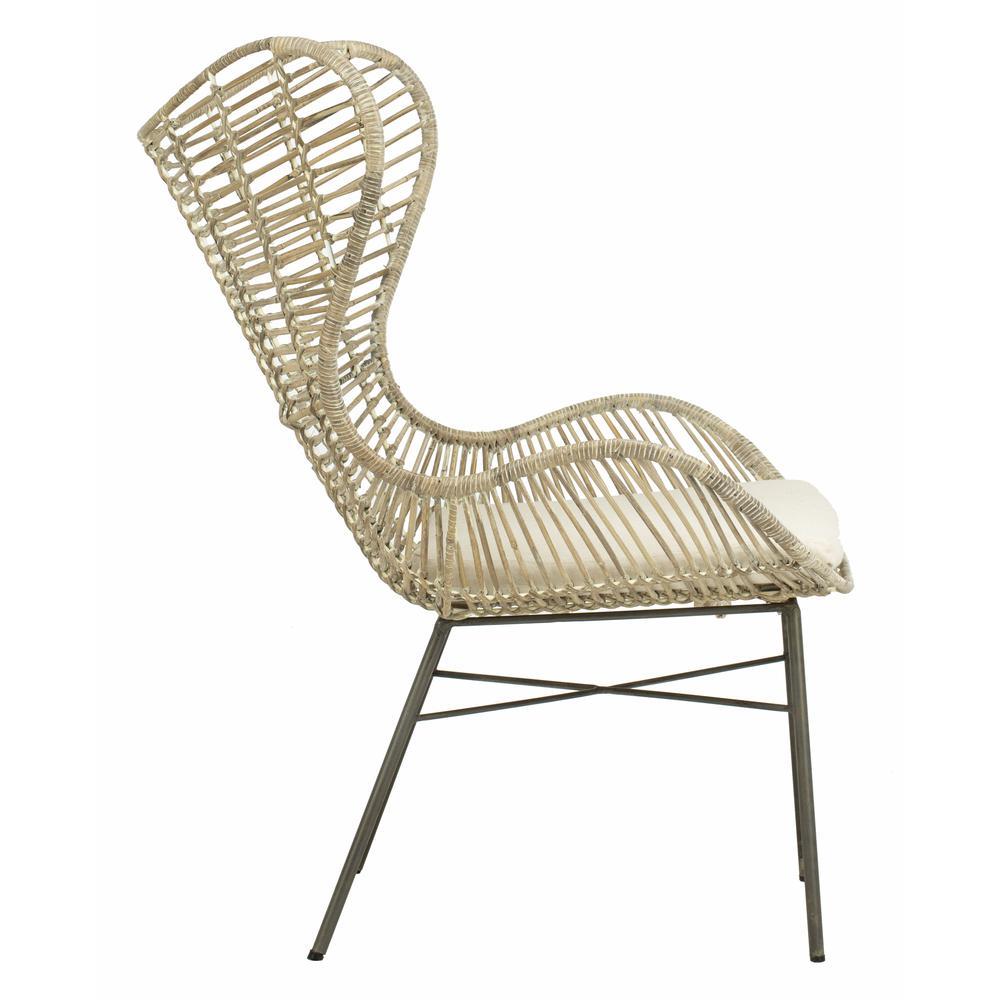 Malia Rattan Wingback Armchair, White Wash. Picture 9