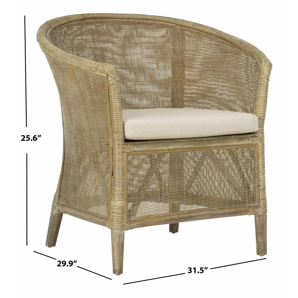 Alexana Rattan Armchair, Grey White Wash. Picture 4