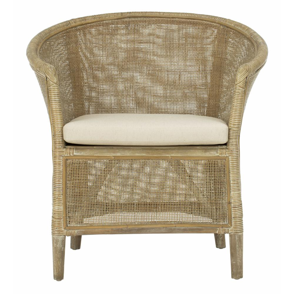 Alexana Rattan Armchair, Grey White Wash