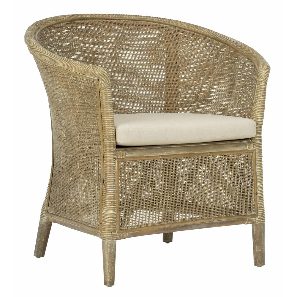 Alexana Rattan Armchair, Grey White Wash. Picture 8