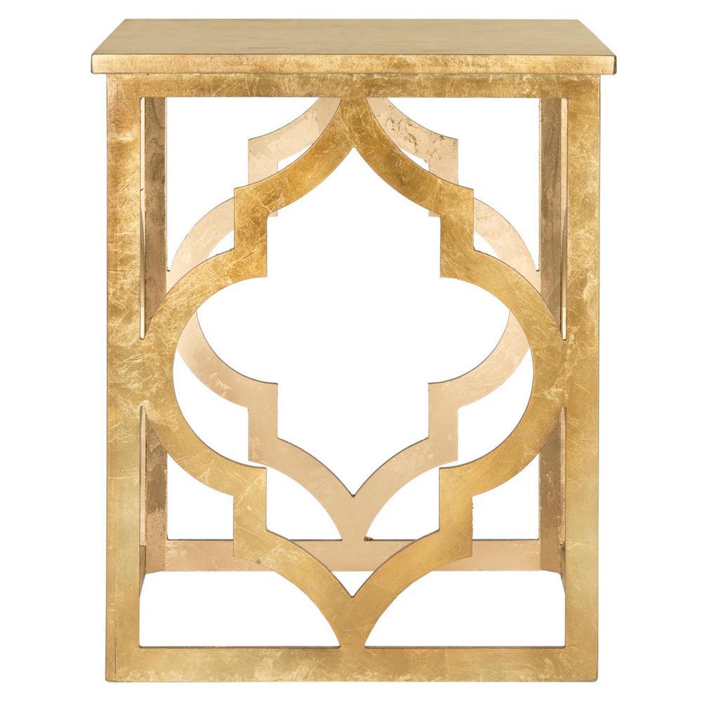 MILO TRELLIS GOLD LEAF END TABLE. Picture 1
