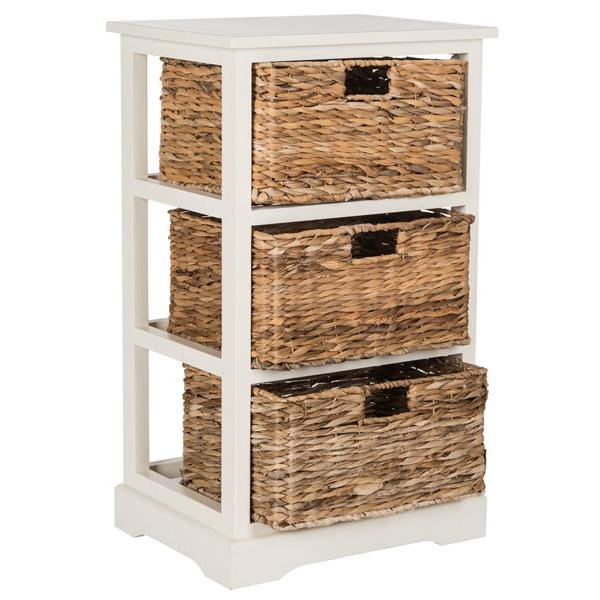 HALLE 3 WICKER BASKET STORAGE SIDE TABLE, AMH5738B. Picture 1