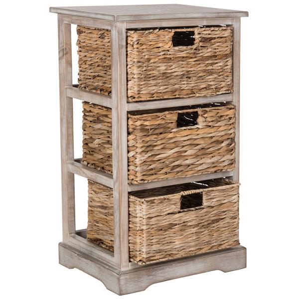 HALLE 3 WICKER BASKET STORAGE SIDE TABLE, AMH5738E. Picture 1