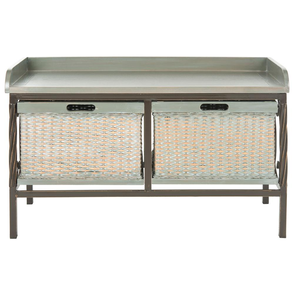 NOAH 2 DRAWER WOODEN STORAGE BENCH, AMH6528B. Picture 1
