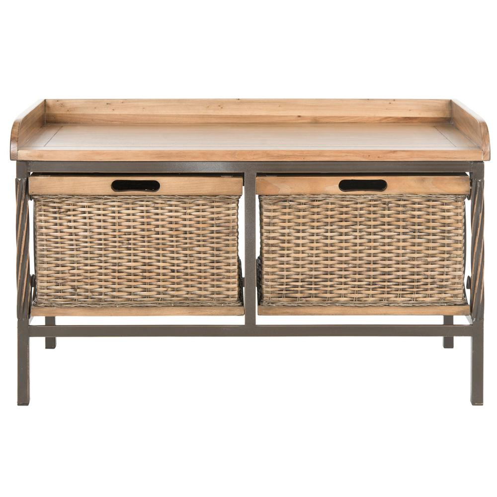NOAH 2 DRAWER WOODEN STORAGE BENCH, AMH6528C. Picture 1