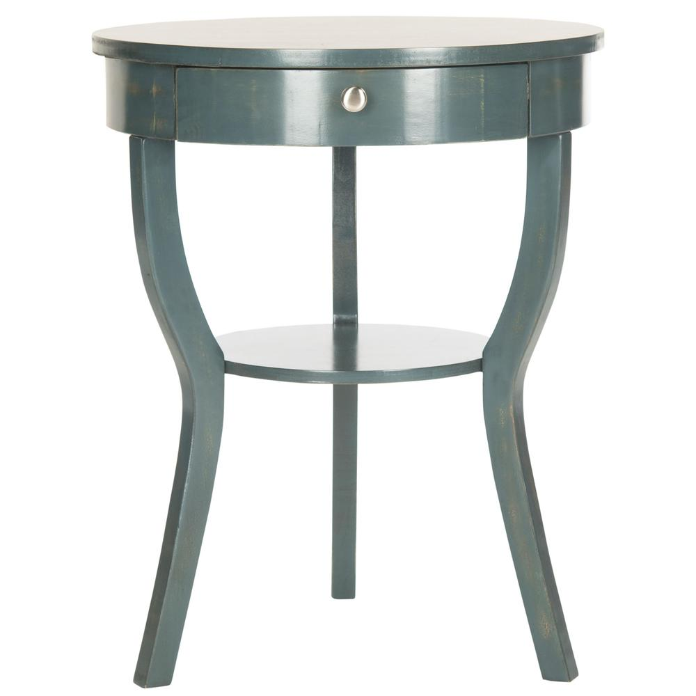 KENDRA ROUND PEDESTAL END TABLE W/ DRAWER, AMH6620B. Picture 1