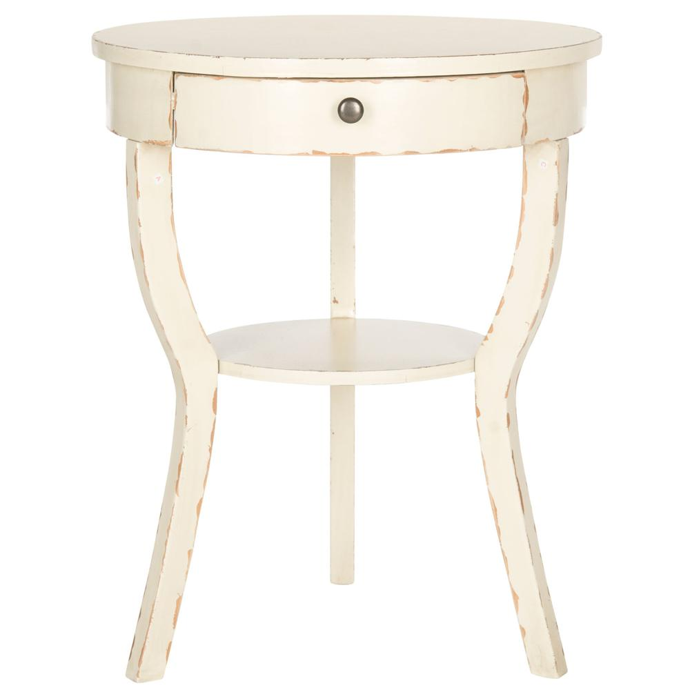 KENDRA ROUND PEDESTAL END TABLE W/ DRAWER, AMH6620D. Picture 1