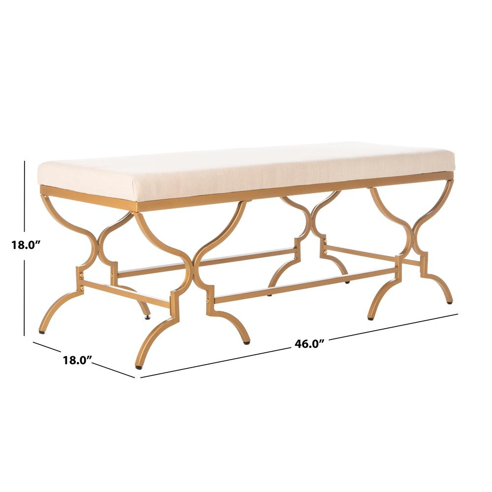 Juliet Rectangular Bench, Beige/Gold. Picture 3