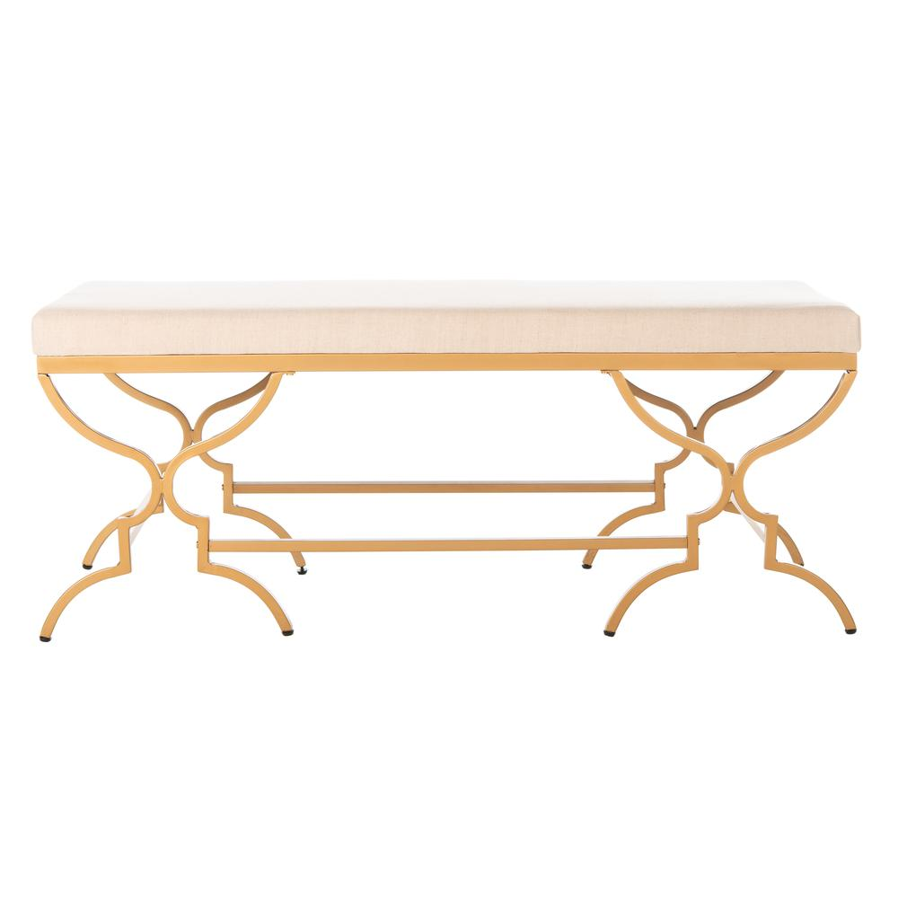 Juliet Rectangular Bench, Beige/Gold. Picture 1