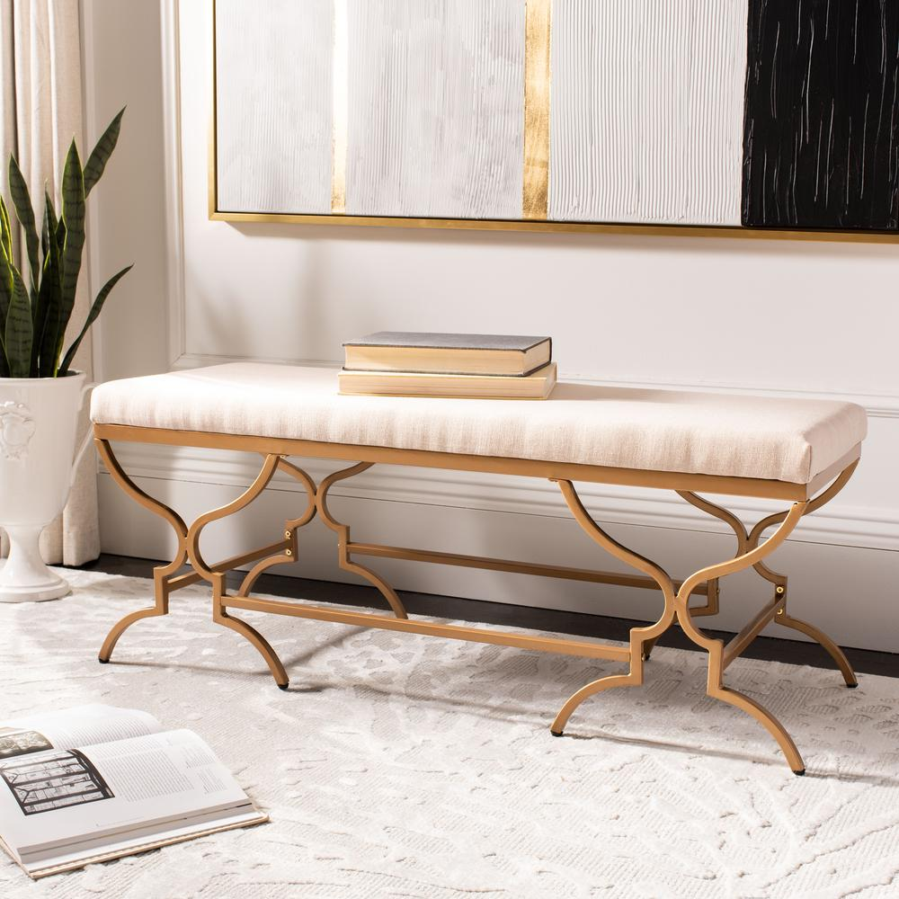 Juliet Rectangular Bench, Beige/Gold. Picture 5