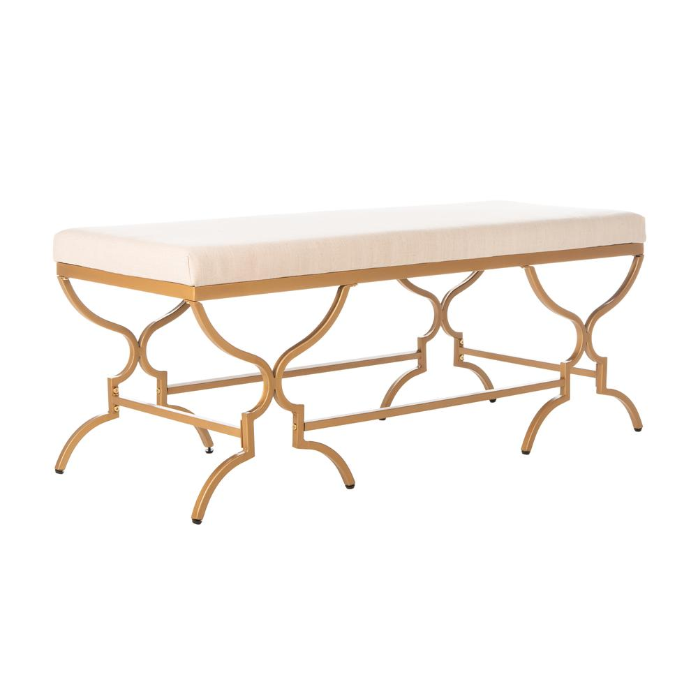 Juliet Rectangular Bench, Beige/Gold. Picture 7