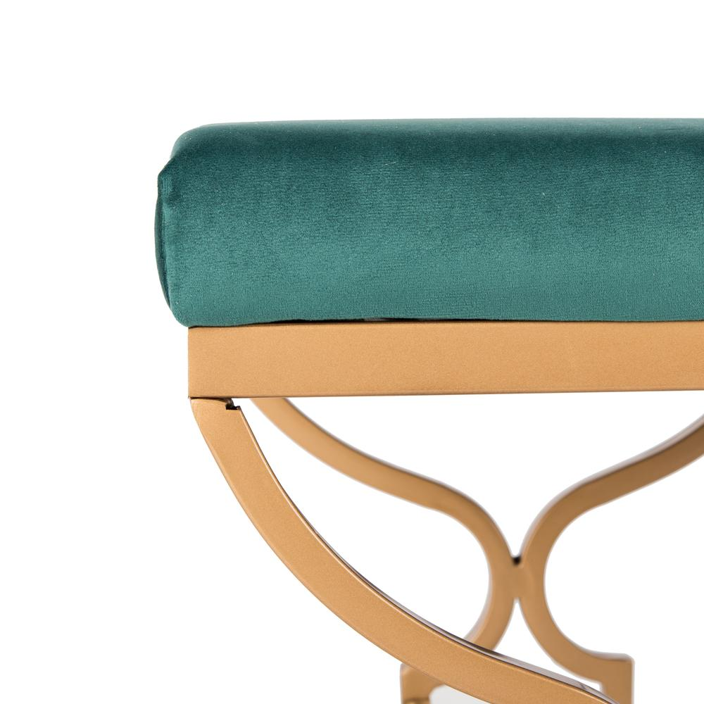 Juliet Rectangular Bench, Emerald/Gold. Picture 2