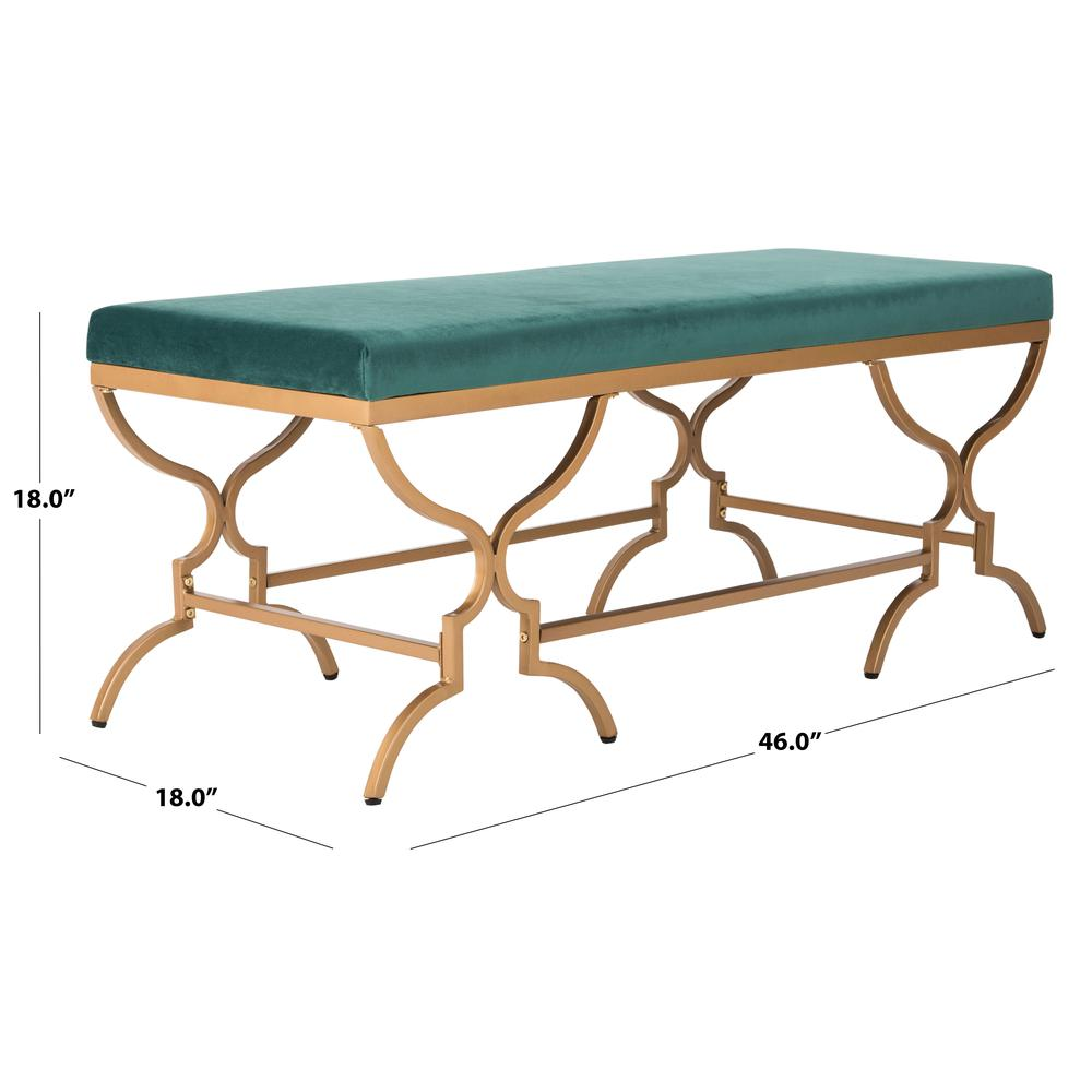 Juliet Rectangular Bench, Emerald/Gold. Picture 3