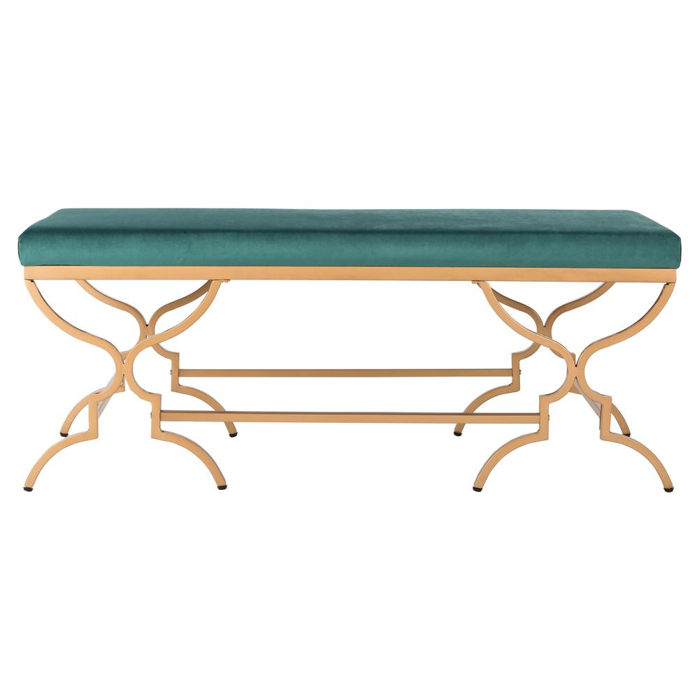 Juliet Rectangular Bench, Emerald/Gold. Picture 1