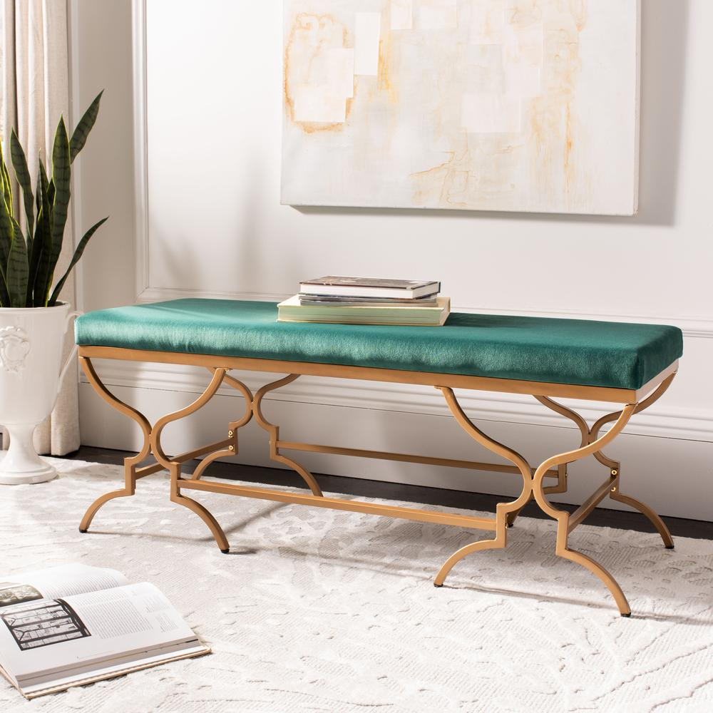 Juliet Rectangular Bench, Emerald/Gold. Picture 5