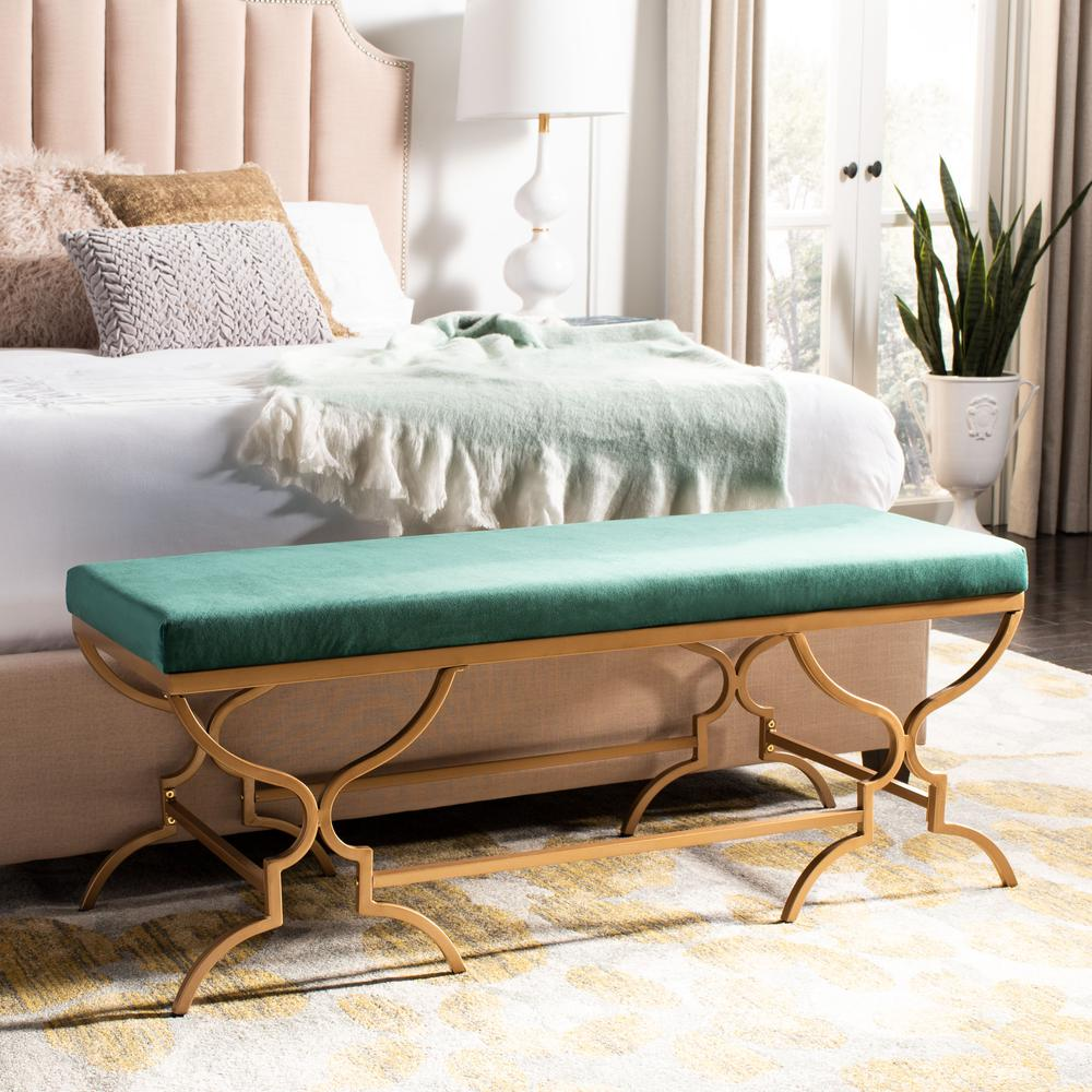 Juliet Rectangular Bench, Emerald/Gold. Picture 6