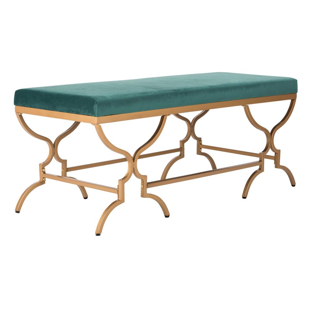 Juliet Rectangular Bench, Emerald/Gold. Picture 7