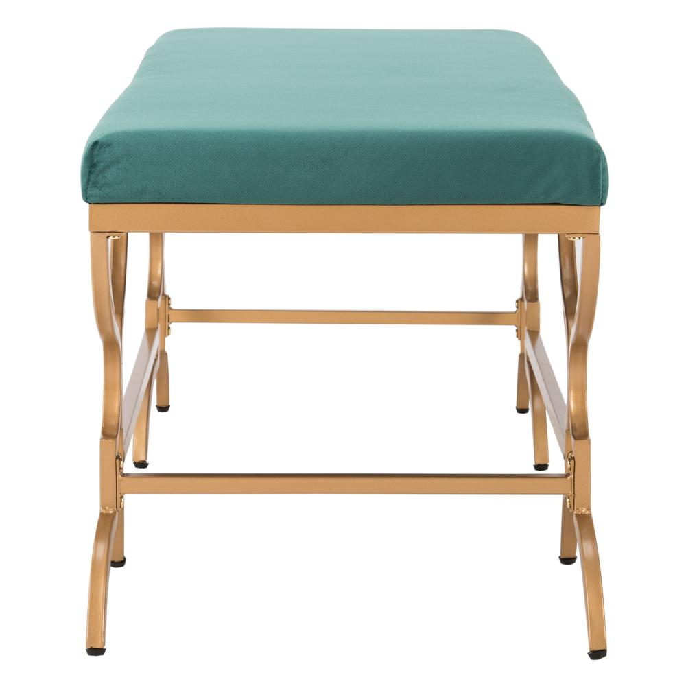 Juliet Rectangular Bench, Emerald/Gold. Picture 8