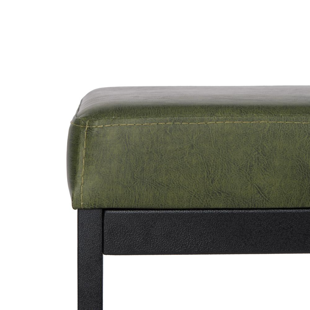 Chase Faux Leather Bench, Dark Green. Picture 2