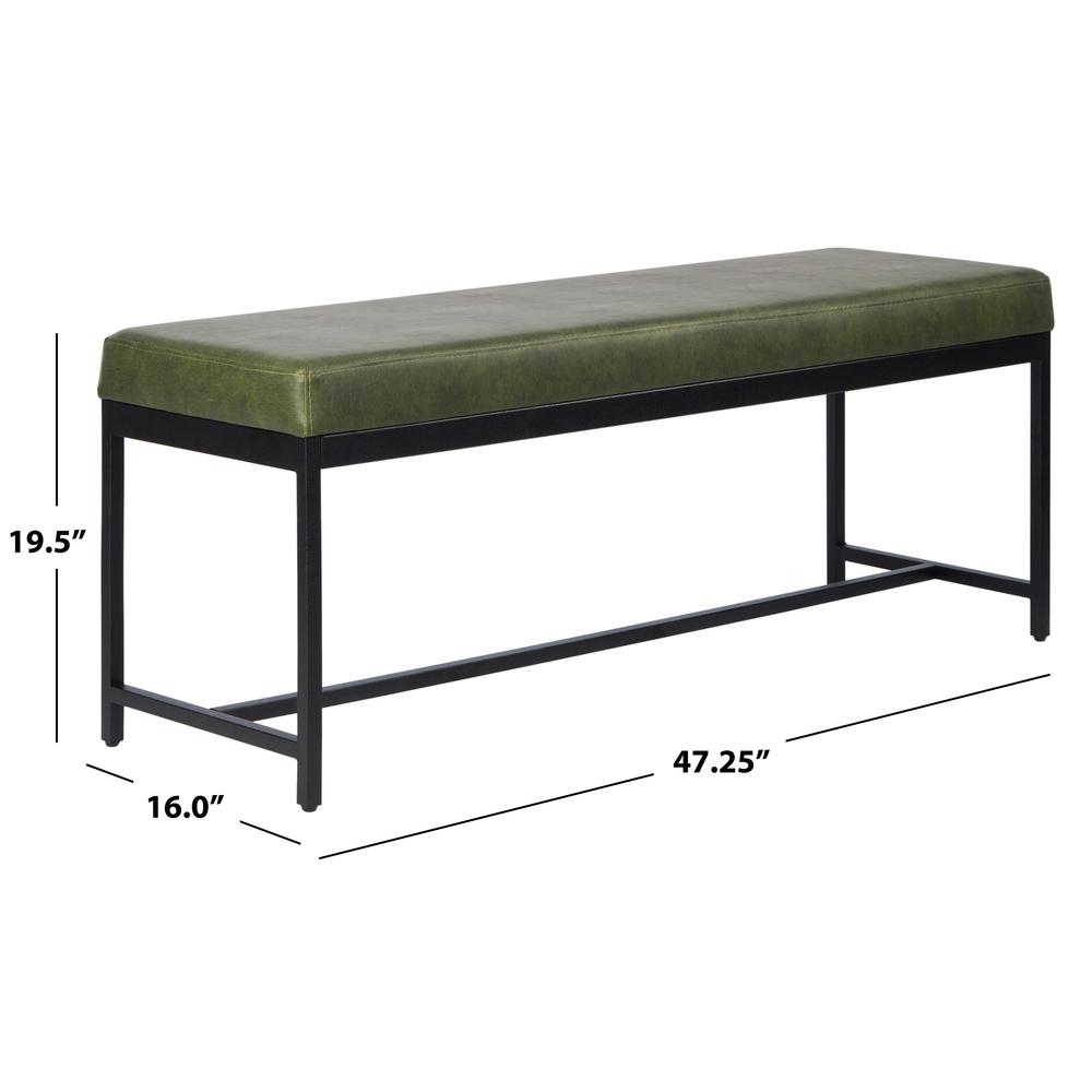 Chase Faux Leather Bench, Dark Green. Picture 3
