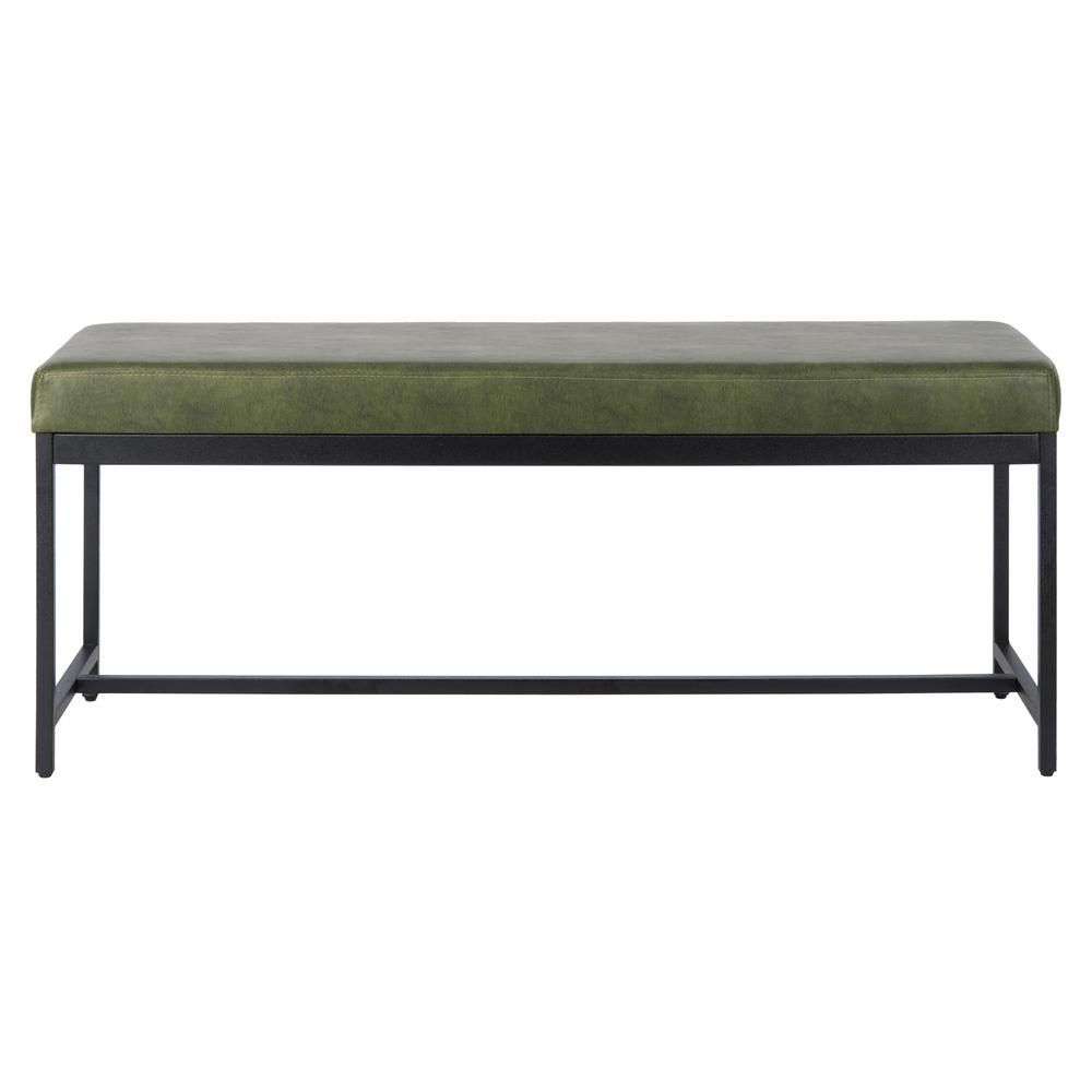 Chase Faux Leather Bench, Dark Green. Picture 1