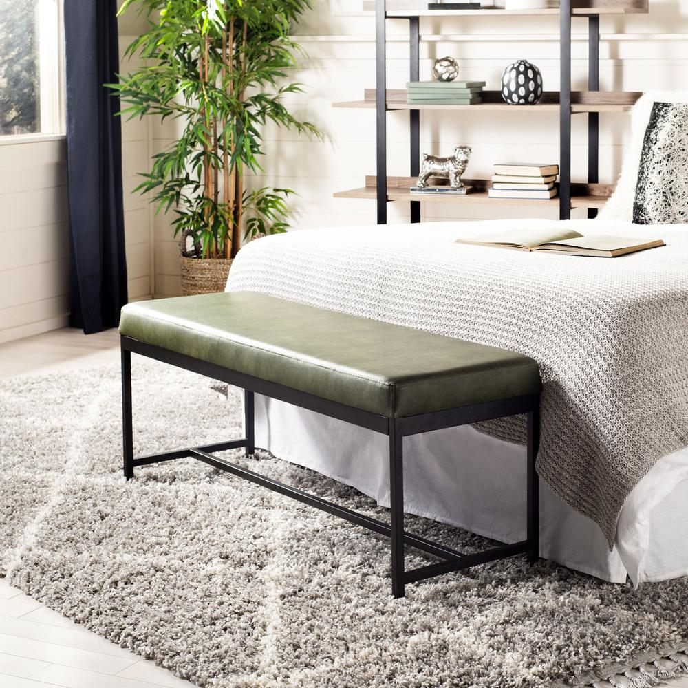Chase Faux Leather Bench, Dark Green. Picture 5