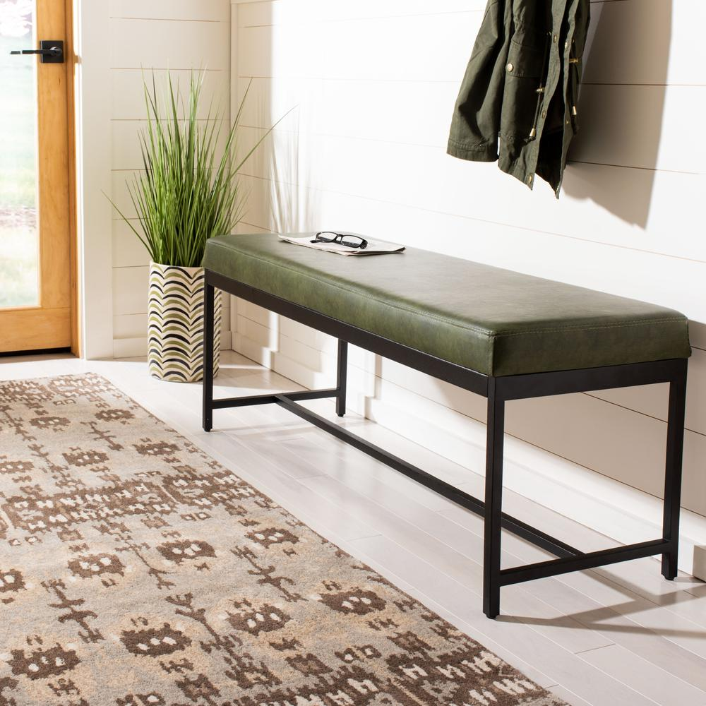 Chase Faux Leather Bench, Dark Green. Picture 6