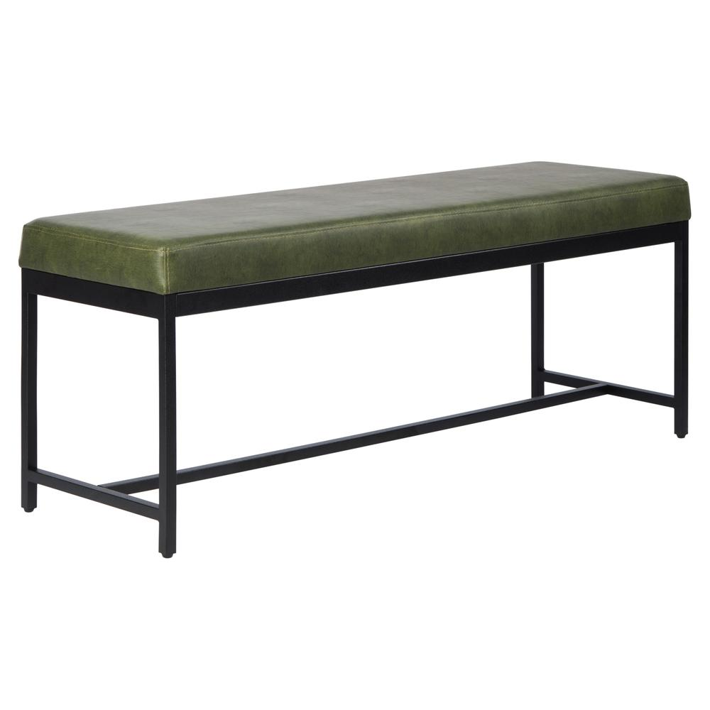 Chase Faux Leather Bench, Dark Green. Picture 7