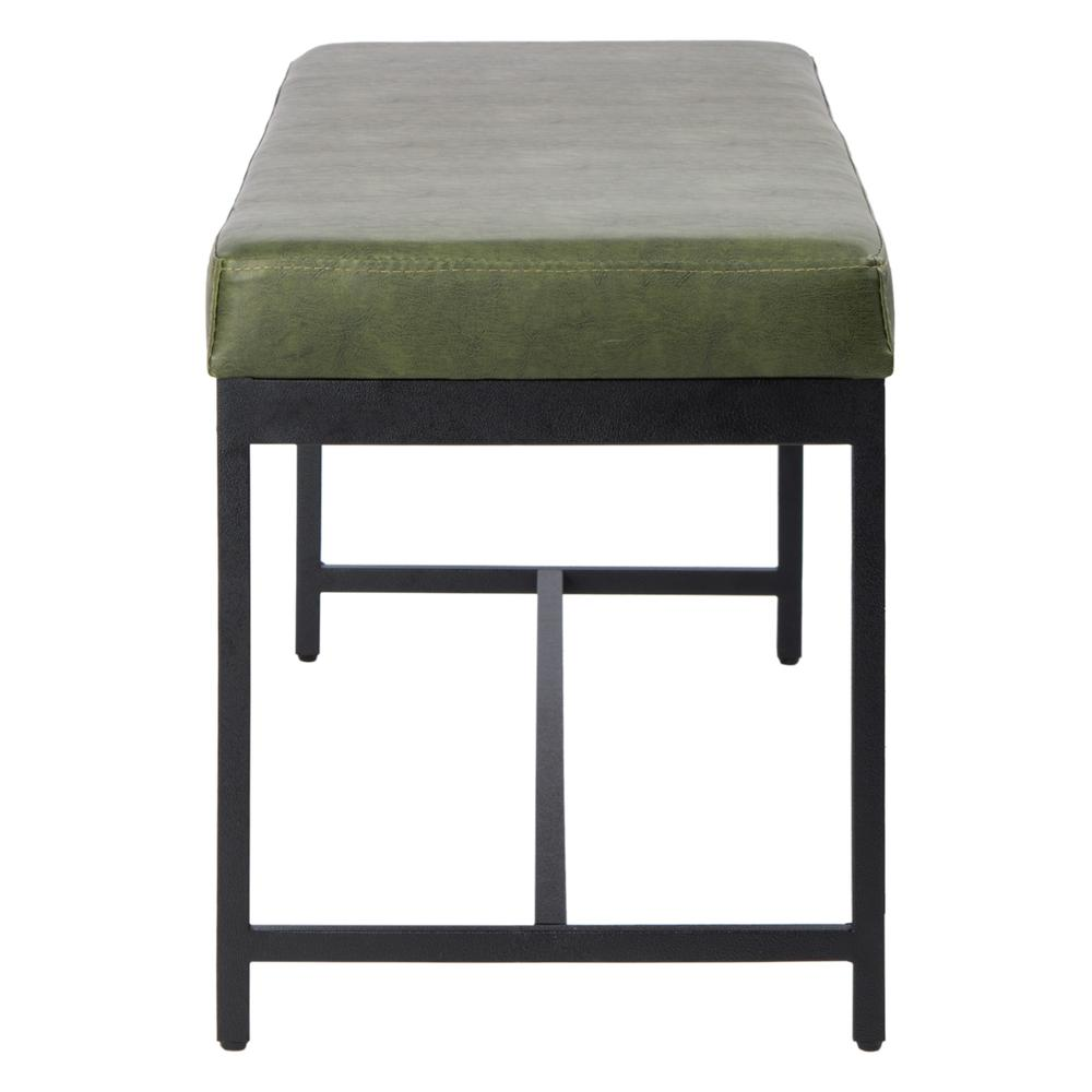 Chase Faux Leather Bench, Dark Green. Picture 8