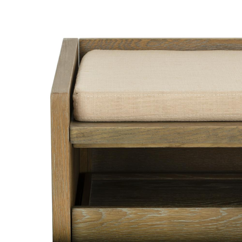Percy Storage Bench, Rustic Oak/Beige. Picture 4