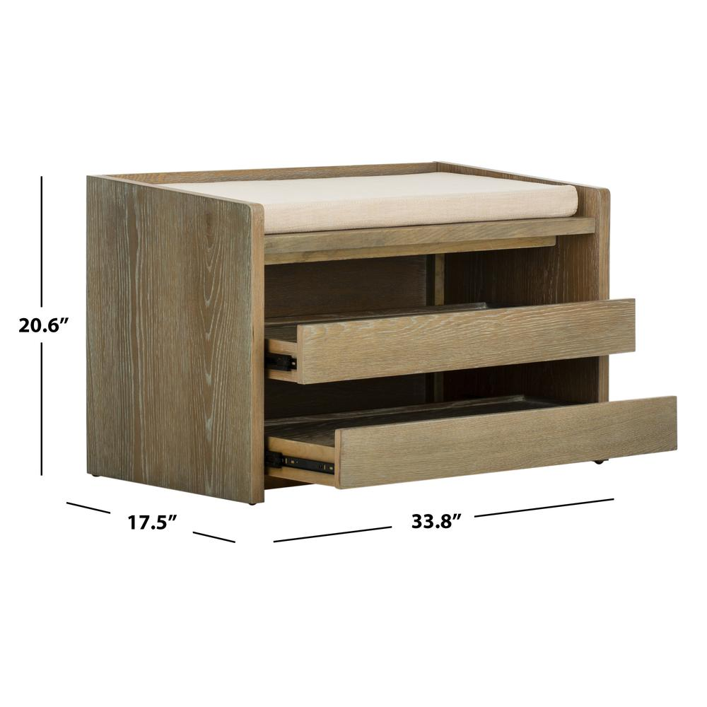 Percy Storage Bench, Rustic Oak/Beige. Picture 5